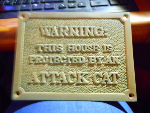 Brass Wall Plaque WARNING THIS HOUSE IS PROTECTED BY AN ATTACK CAT
