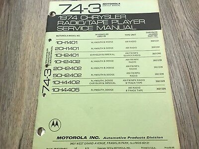 1974 CHRYSLER DODGE IMPERIAL AM/FM AM 8 TRACK STEREO AUTO RADIO SERVICE MANUAL