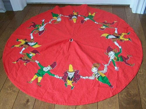 Vintage FABRIC Christmas Tree Skirt DANCING ELF ELVES GNOMES TROLLS 32
