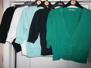 NEW-M-S-LADIES-CROPPED-V-NECK-SHORT-SLEEVE-JUMPER-CARDIGAN-SHRUG-FREE-POST