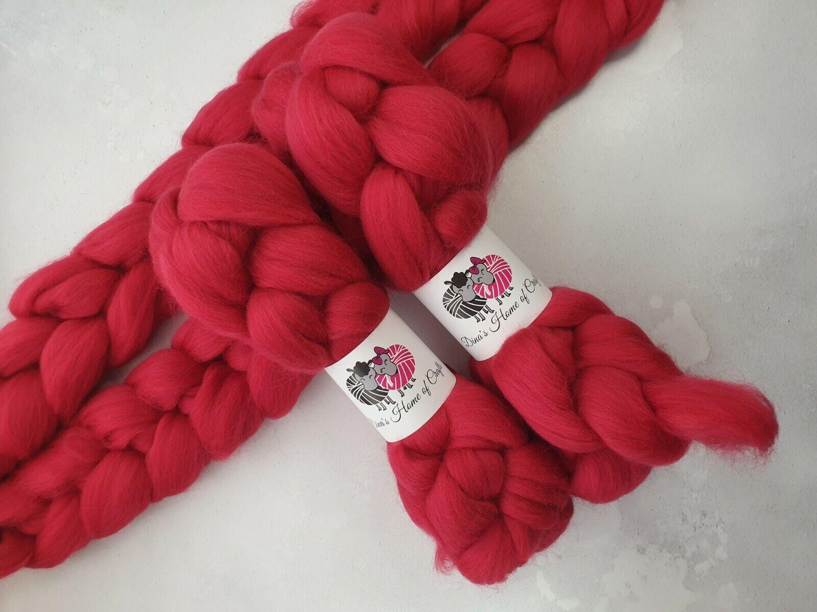 как выглядит Merino roving, wool top, 100 g, CRIMSON фото
