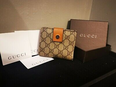 Authentic Vintage Gucci Wallet Purse GG Bill Fold Tiger Orange Coin Purse