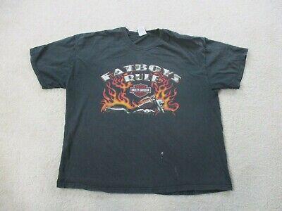 Harley Davidson Shirt Adult 2XL XXL Black Fatboy North Carolina Biker Motorcycle
