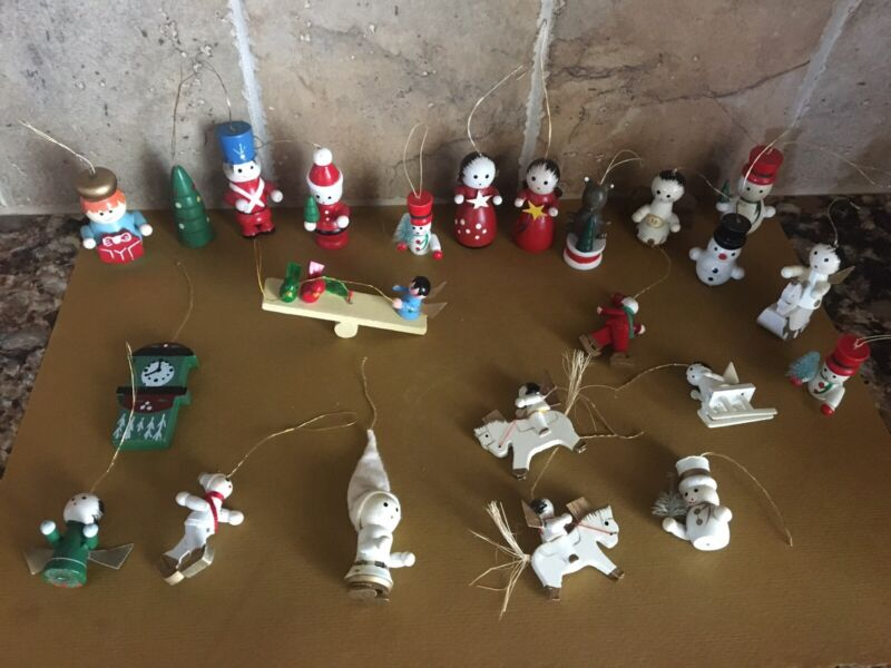 Lot 23 Vintage Wooden Handmade Hand Painted Christmas Ornaments