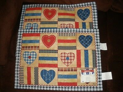 """NEW Americana Applique 13"""" X 18"""" Placemat Set of 2"""