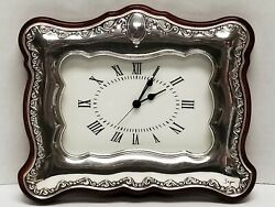 SAGNI 925 STERLING Silver & Wood Table Top Alarm CLOCK Made In ITALY ~ Battery