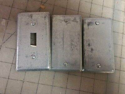 Lot Of 3 - Metal Electrical Box Cover 1 Gang Single Paintable Steel City