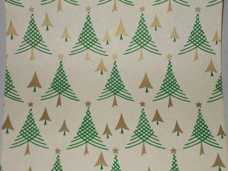 VTG 1940 WW2 ERA CHRISTMAS TREE WRAPPING PAPER GIFT WRAP 2 YARDS