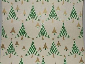 VTG-1940-WW2-ERA-CHRISTMAS-TREE-WRAPPING-PAPER-GIFT-WRAP-3-YARDS