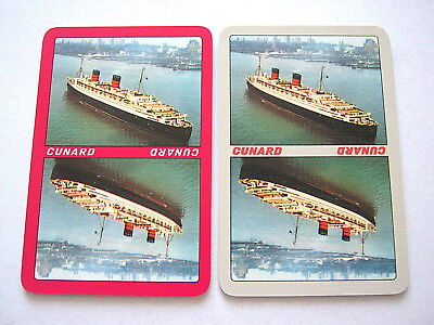 SINGLE SWAP CARDS X2 CUNARD SHIPPING LINE LIVERPOOL ENGLAND VINTAGE PLAYING CARD