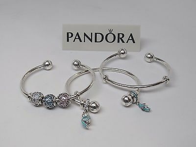 New Pandora Adjustable Silver Open Bangle Bracelet W Silicone Grips   596477