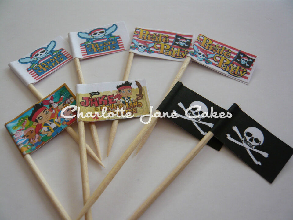 12 or 20 CUPCAKE FLAGS/TOPPERS - PIRATE PARTY