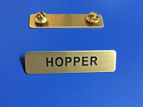 HOPPER METAL NAME TAG CLUTCH BACK GREAT FOR HALLOWEEN COSTUME!