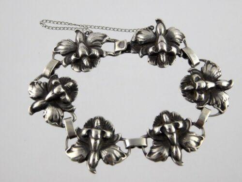 Vtg Art Nouveau Sterling Silver Iris Flower Panel Bracelet 925 with Safety Chain
