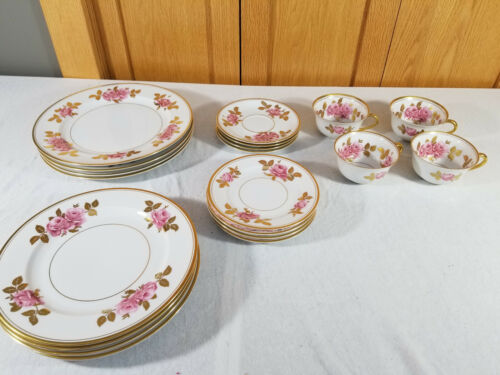 Royal Bayreuth China Germany Pink & Gold Rose Flower China 30 piece set 4 place