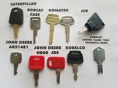 10 Keys Heavy Equipment Ignition Set Caterpillar Case John Deer Kobelco Forklift