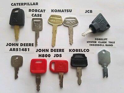 10 Keys Heavy Equipment Ignition Set Caterpillar Case John Deer Kobelco Forklift