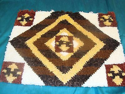 """NEW COMPLETED LATCH HOOK RUG AZTEC SOUTHWEST Finished 20"""" x 27"""" Nice!"""