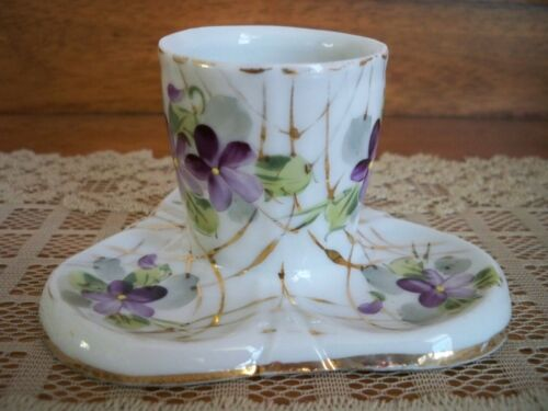Vintage Mid-Century Porcelain Toothpick Holder - White with Purple Flowers