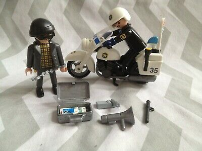Playmobil spares police,robber figures & accessories inc bike etc