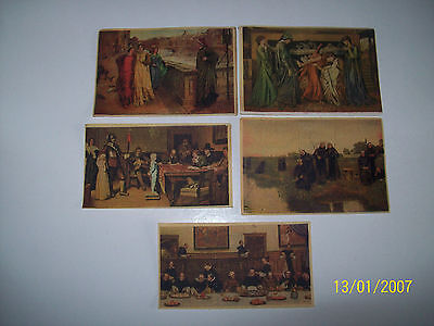 R J HILL CANVAS MASTERPIECES SERIES 2, 5 CANVAS CARDS FROM SET OF 10