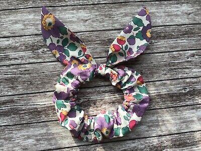 Liberty London Betsy Ann Grey Fabric Handmade BOW HAIR SCRUNCHIE  Bunny Ears