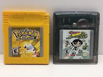 Pokemon Yellow Special Pikachu Edition Nintendo Gameboy 1999 + Power Puff Girls
