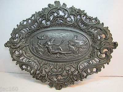 Old NEPTUNE CHERUB HORSES High Relief Wall Plaque Charger Ornate Plate