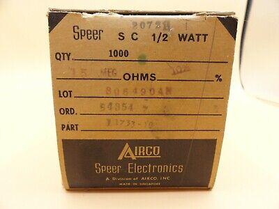 Speer - Pack Of 1000 - Resistors 15 Meg Ohm 12 Watt