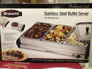 Bravetti Stainless Steel Buffet Server 3 Trays & Warming Drawer