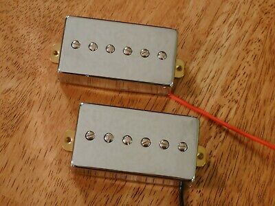 HUMBUCKER SIZED P90 PICKUP SET ALNICO 2 MAGNETS IN CHROME for sale  Woodstock