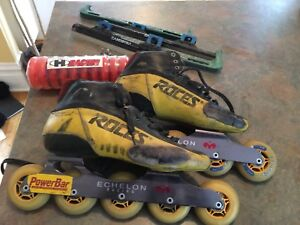 Inline and ice speed skates, blades, frames, new wheels