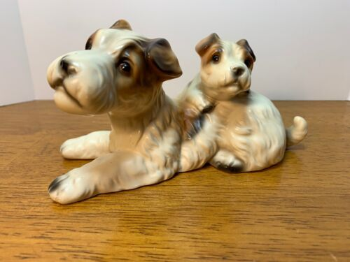 Wire Hair Terrier and Puppy Ceramic