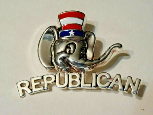 """""""RARE"""" VINTAGE REPUBLICAN ELEPHANT PIN BROOCH - SIGNED BEST"""