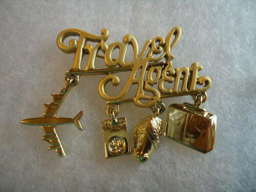 Danecraft vtg/nos gold tone Travel Agent charm pin