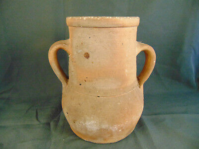 """Hand crafted pottery vase 2 handles 8 1/2"""" high flowers plants primitive art"""