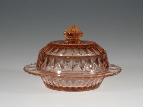 Deco Jeannette Glass Company Pink Windsor Diamond Butter Dish c.1935