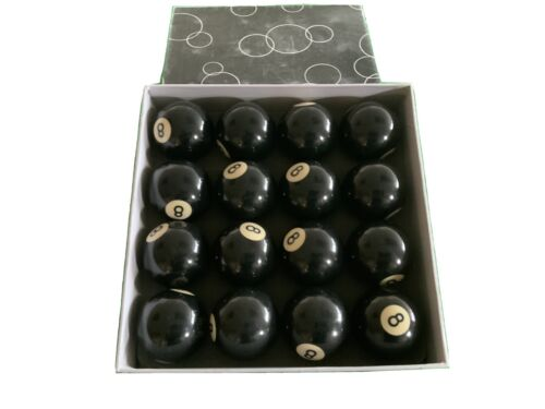 Black No 8 Pool Balls Box Of 16 Std Size
