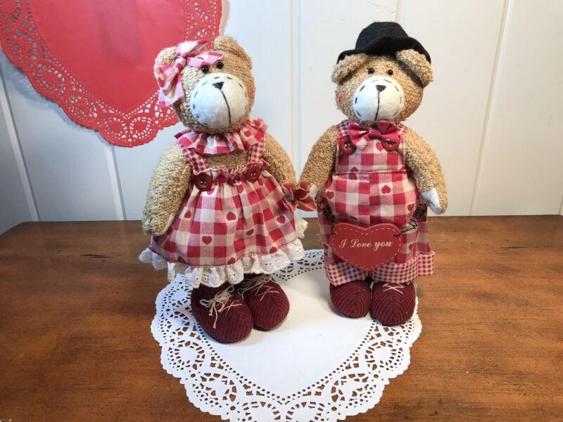 "Vintage Valentine's Day 10"" Boy & Girl Soft Teddy Bears In Valentine Outfits"