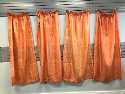 Vintage FIBERGLASS CURTAIN PANEL SET mid century modern drapes pleated orange 50
