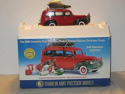 Limited Edition Franklin Mint Die Cast 1946 Chevrolet Suburban Christmas Truck