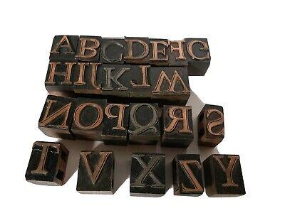 Vintage Metal Letterpress Print Type Block Alphabet