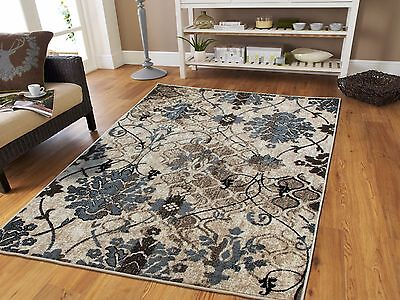 Luxury Contemporary Rug 8x11 Red Flowers Area Rugs 9x12 Grayish Blue 5x8 Carpet