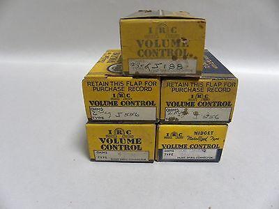 Lot 5 Unused Vintage Irc Potentiometer Volume Control Dial B5