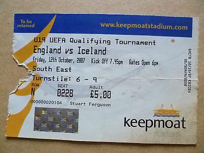 Ticket- ENGLAND v ICELAND, U-19 UEFA Qualifying Tournament Match, 12 Oct 2007
