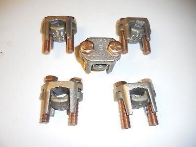 5 Burndy Kvs40 2 Bolt Tap Connector 8 Awg-800 Mcp Copper And Free Shipping