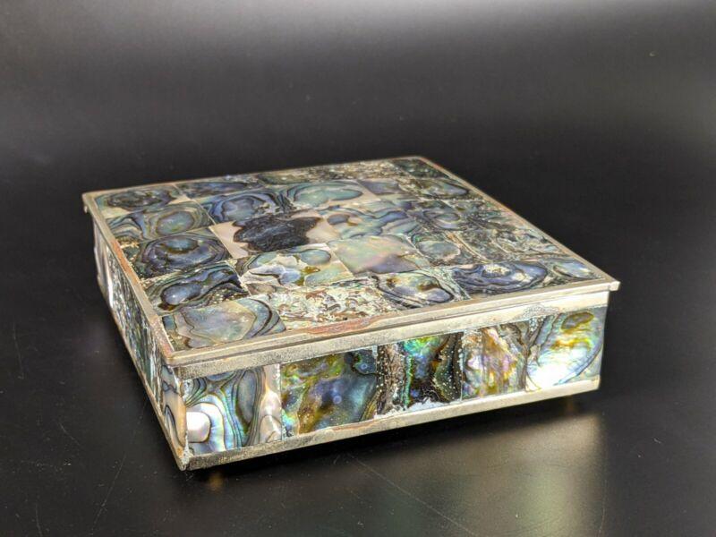 Vintage Alpaca Mexico Abalone Inlay Wood Lined Trinket Jewelry Box