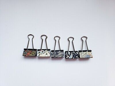 Medium Binder Clips Washi Paper Paper Clamps Handmade Stationery 5 Set