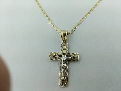 14K Solid Gold 2 Tone  filigree Cross  pendant with valentino necklace Chain