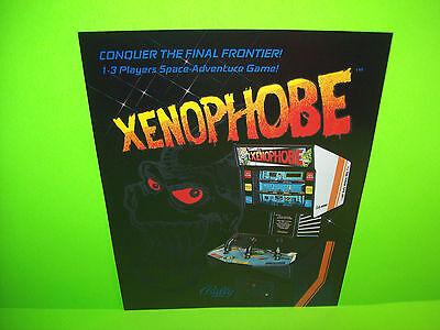 Bally Midway XENOPHOBE Original NOS 1987 Space Age Video Arcade Game Sales Flyer